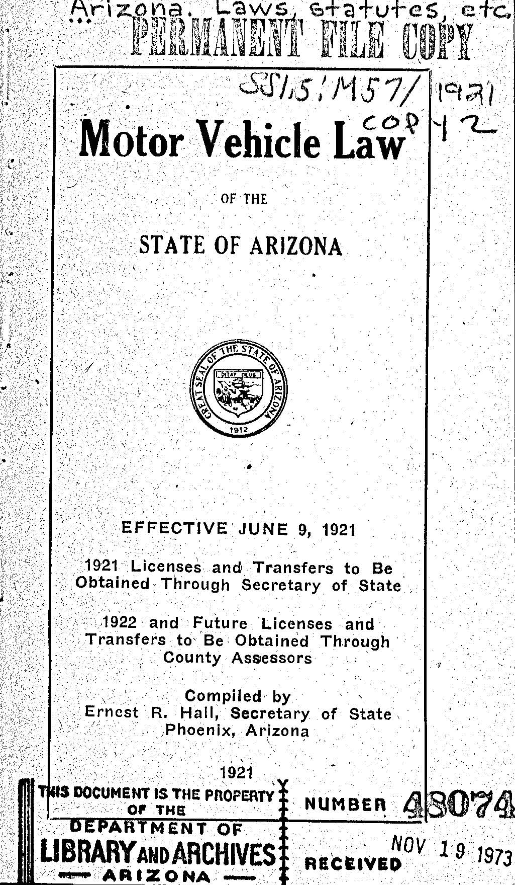 Old motor vehicle laws state library of arizona virtual for Iowa motor vehicle laws