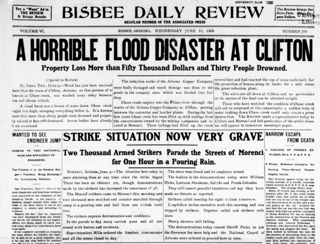 6_10_1903 Bisbee Daily Review FLOOD AND STRIKE ZOMG