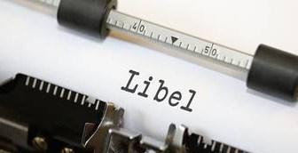 Libel typed onto a typewriter page